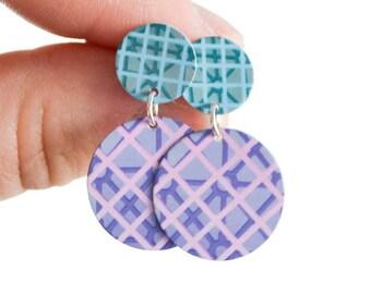 Magenta and Aqua Pattern Statement Stud Earrings - Colourful disc dangle earrings - Summer fashion