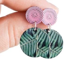 Green fern and pink Statement Stud Earrings - Colourful disc dangle earrings - Summer fashion