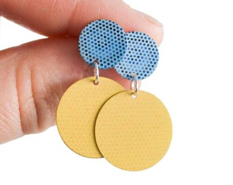 Blue and yellow Statement Stud Earrings - Colourful disc dangle earrings - Summer fashion