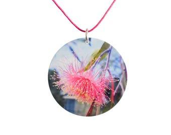 Gum tree flower pendant - Australiana Nature Necklace- Australian native flower - Botanical jewellery