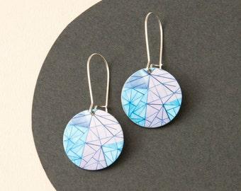 Blue Abstract Earrings - reversible Melbourne Jewellery - Blue geometric earrings - Australiana