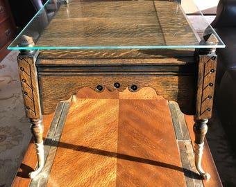 Vintage glass topped Eastlake inspired ebonized quartersawn oak accent table