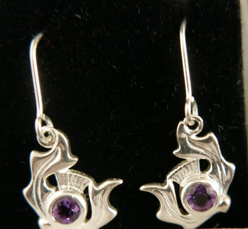 Vintage Scottish Orkney Malcolm Gray for Ortak Silver Thistle Hoop Earrings 20mm x12mm with 20mm long hoops.