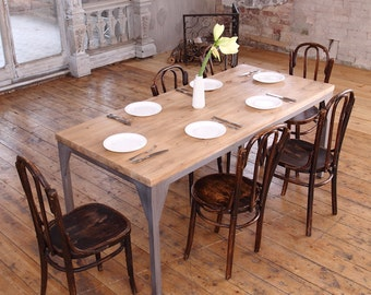 The Iron Contemporary Pine Wood Steel Industrial Dining Table Reclaimed Rustic Farmhouse