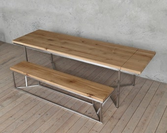 Solid Stainless Steel Extendable Oak Dining Table