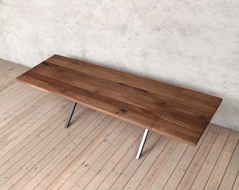 5077e98ab0be Richmond Extendable Industrial Style Wooden Walnut Steel Dining Table X  Shaped Legs Rustic Retro