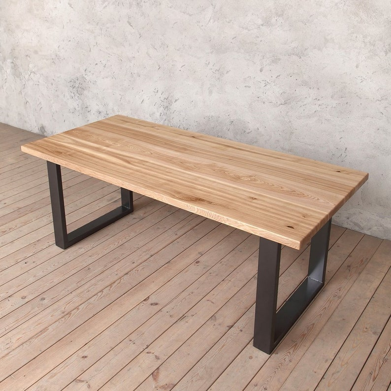Magnificent Holborn Solid Ash Dining Table With Graphite Grey U Shaped Legs Download Free Architecture Designs Rallybritishbridgeorg