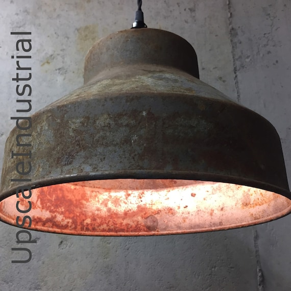 Custom Ceiling Rusty Pendant Light VINTAGE Repurposed Industrial Light Pendant Strainer Farmhouse Light Kitchen Island Pendant Lighting