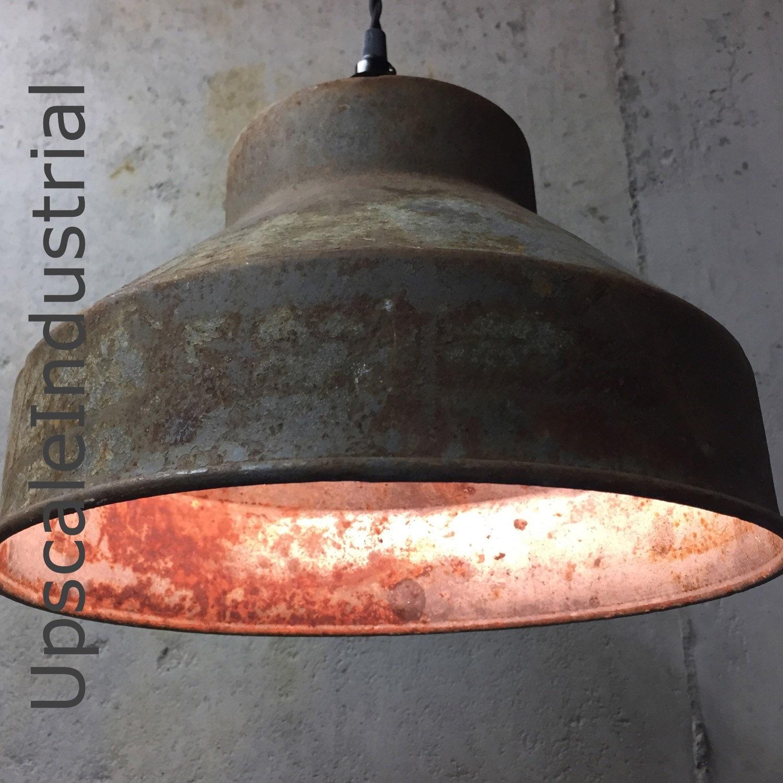 Custom Ceiling Rusty Pendant Light VINTAGE Repurposed Industrial