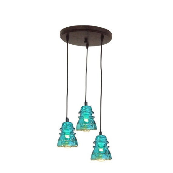 Lighting Rustic Chandelier VINTAGE 1920's-60's Repurposed Industrial Glass Insulator Pendant Light Round Pendant Lighting Kitchen Island
