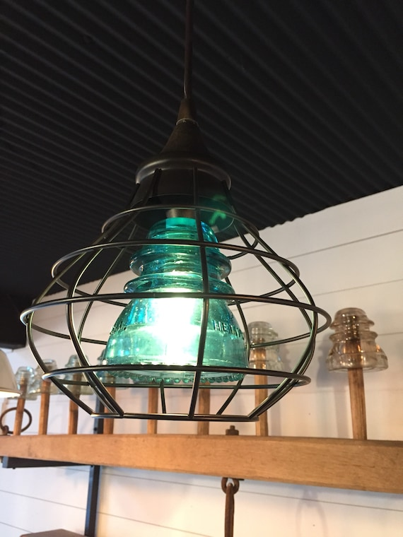 Pendant Light/Glass Insulator/Kitchen  Island/Lighting /Pendant Lighting/Pendant Lights/Industrial Lighting/Steampunk/Aquamarine/vintage
