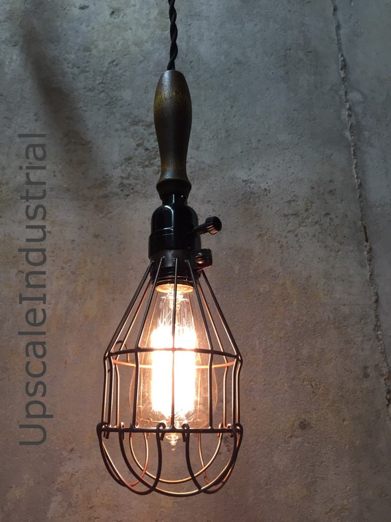 Lighting-Ceiling Light-Vintage Farmhouse Wood Handle Caged Trouble Light Pendant Light Steampunk Light Kitchen Island Pendant Lighting Urban