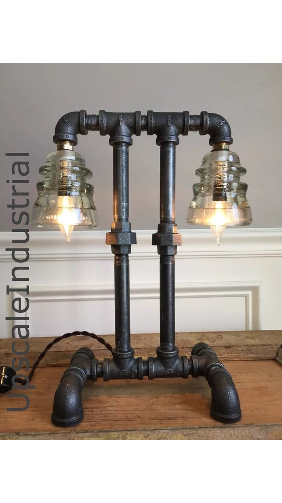 Steampunk Lamp / Pipe Lamp / Steampunk Lighting / Industrial Lighting / Glass Insulator / Insulator Lighting / Bankers Lamp / Edison Lamp