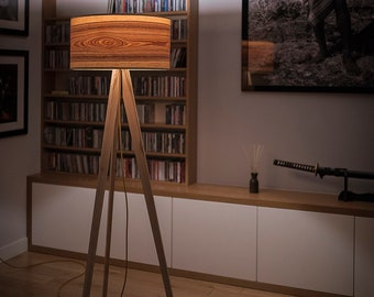 Tripod Floor Lamps, Wooden Floor Lamps, Scandinavian Lighting, Tripod Lamp Base, Nordic Decor, Natural Wood, Heartwood Ash, Wooden Shade