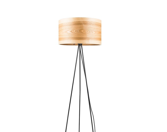 Tripod Floor Lamps, Wooden Floor Lamps, Scandinavian Lighting, Nordic Decor, Natural Wood, Unique Ash Wooden Shade