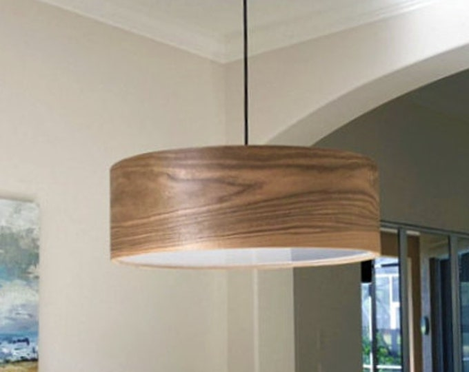 """Special order for Maura - Wood Pendant Lamp - Diameter 31"""" - Heigh 8"""" - White cord and canopy- 3 bulbs- hard-wired"""