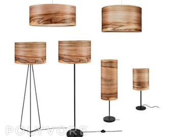 Wooden Floor Lamp - Veneer Lamp Shade - Satin Walnut - Natural Wood Lamps - Lighting - Modern Lamps - Lampshades