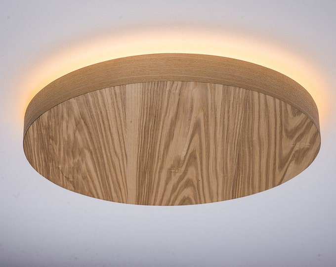 Flush Mount Wood Veneer Light, LED Wood Lamp, Wooden Ceiling Lamp