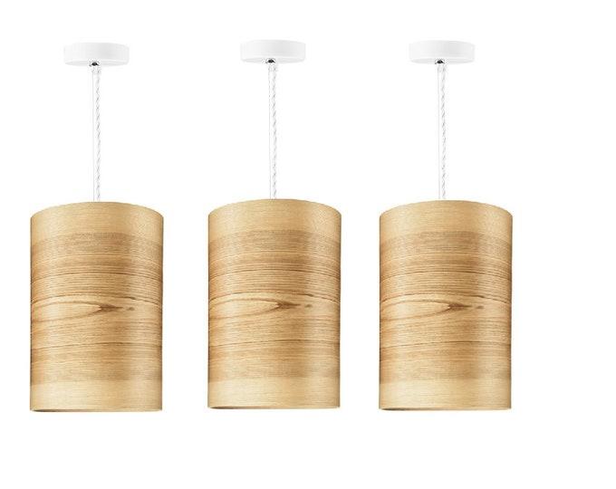 Set of  3 Pendant Lamps - Natural Wood Veneer