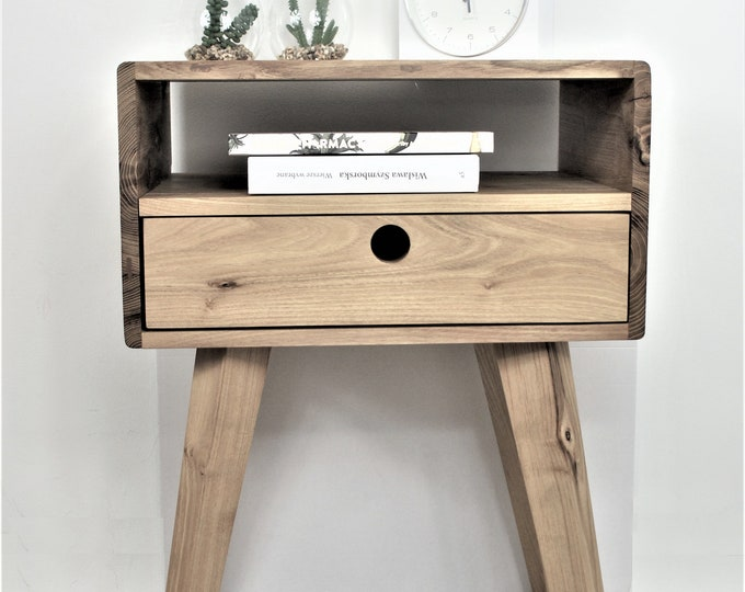 Bedside Table - Solid Wood Acacia
