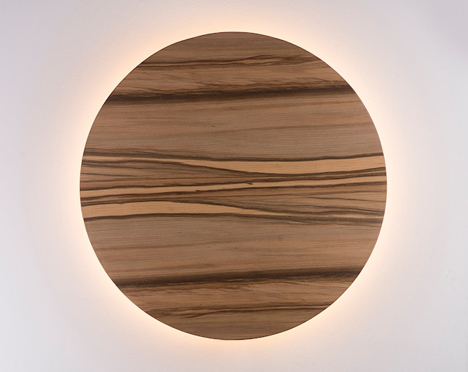 Wood Sconce Light - Modern Light Fixture Night Light Minimalist Wall Art LED Light Natural SATIN WALNUT Wood