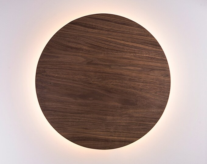 Wood Sconce Light - Modern Light Fixture Night Light Minimalist Wall Art LED Light Natural European WALNUT Wood