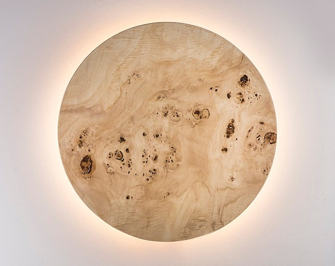 Wood Wall Lamp - Modern Light Fixture Nordic Decor Minimalist LED Light Geometric Circle Sconce Lighting Shade Natural POPLAR BURL Wood