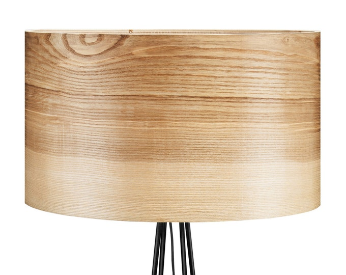 Floor Lamp with Veneer Lamp Shade - Unique Lamp - Natural Wood Shade