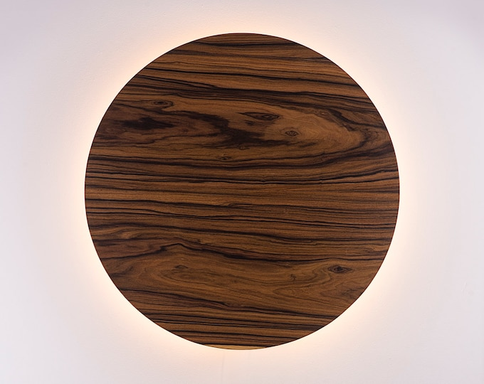 Wood Wall Lamp - Modern Light Fixture Nordic Decor Minimalist LED Light Geometric Circle Sconce Lighting Shade Natural Jacaranda Wood