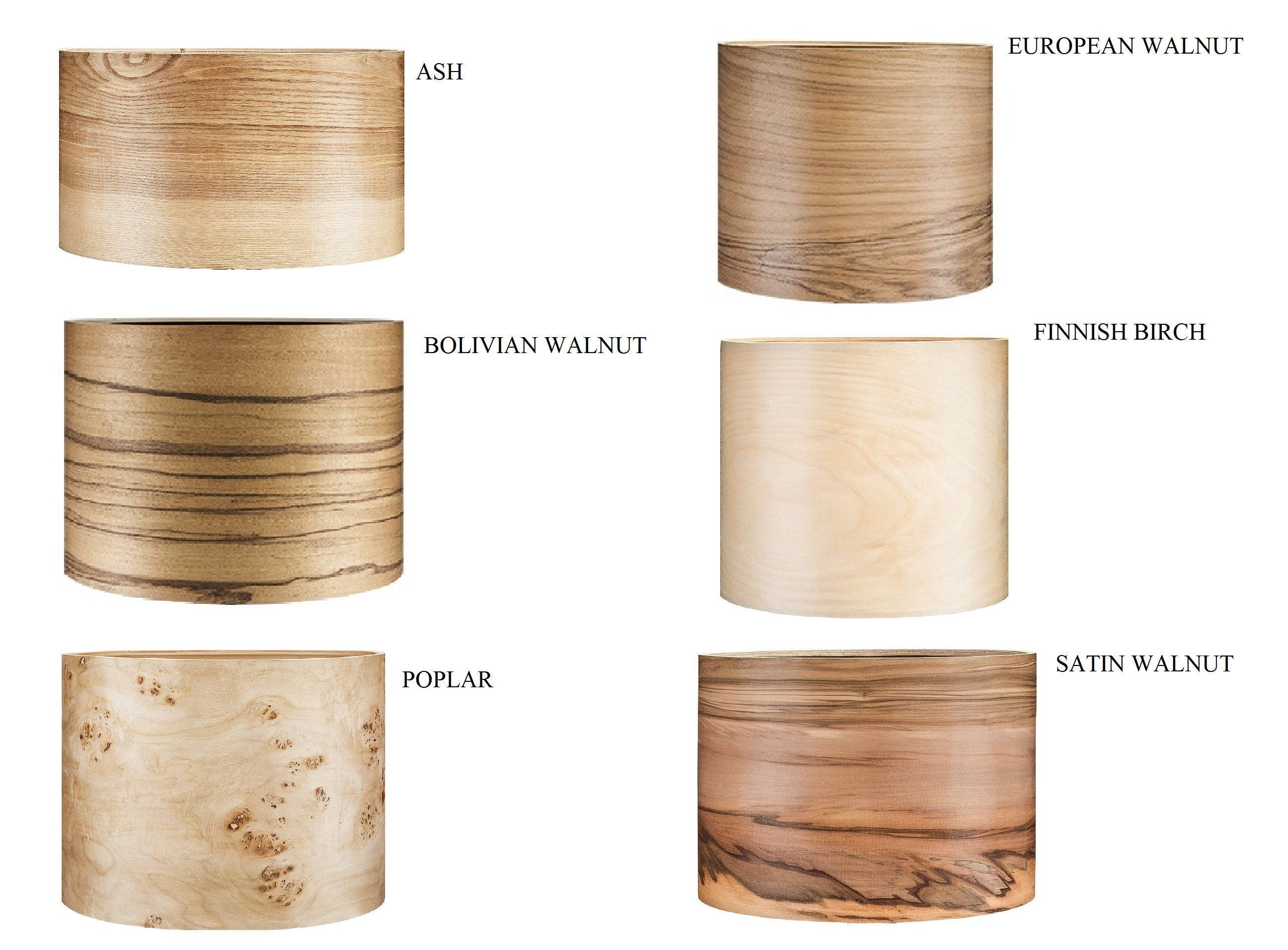 Wooden Floor Lamp Veneer Lamp Shade Satin Walnut Natural Wood Lamps Lighting Modern Lamps Lampshades