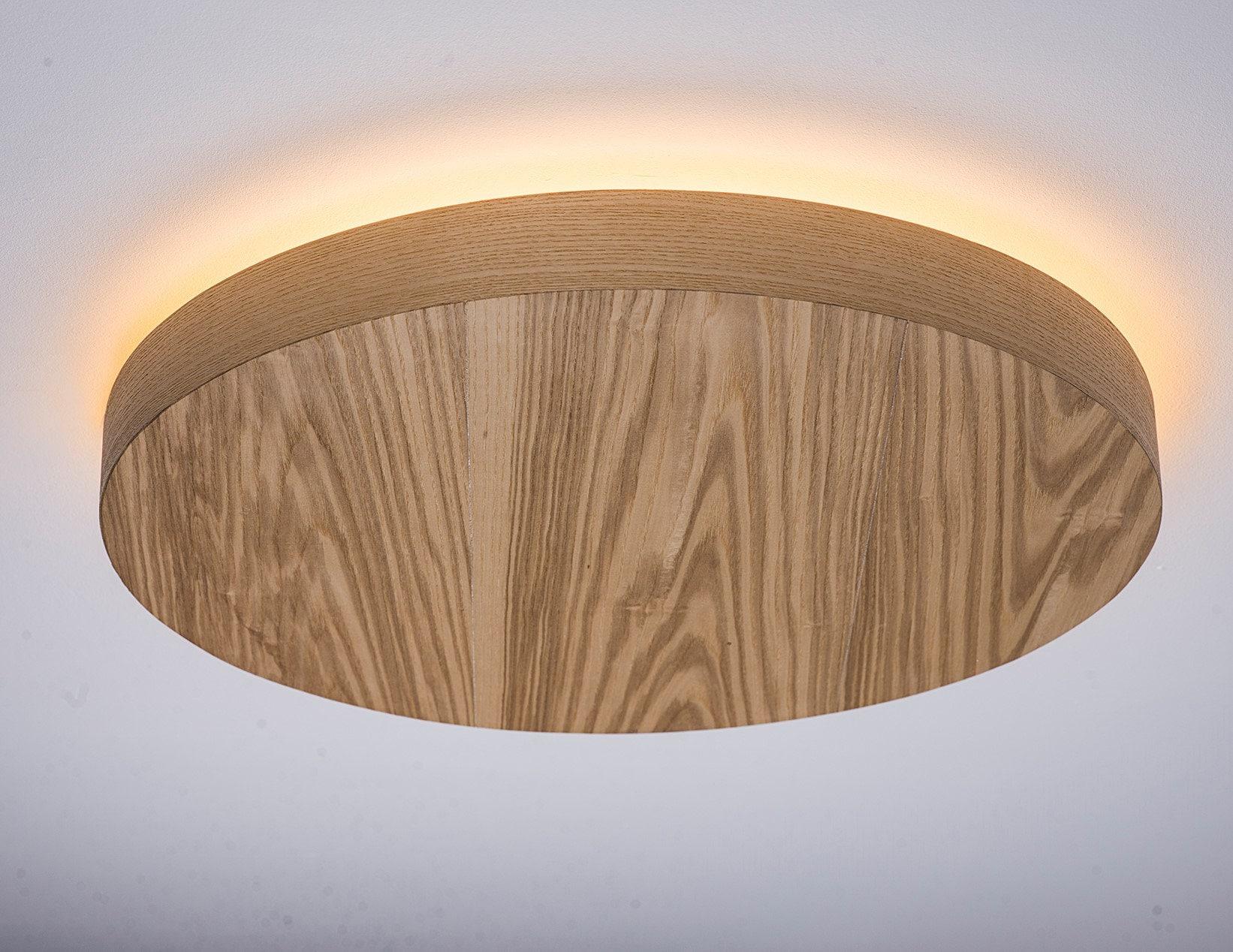Flush Mount Wood Veneer Light Led Wood Lamp Wooden
