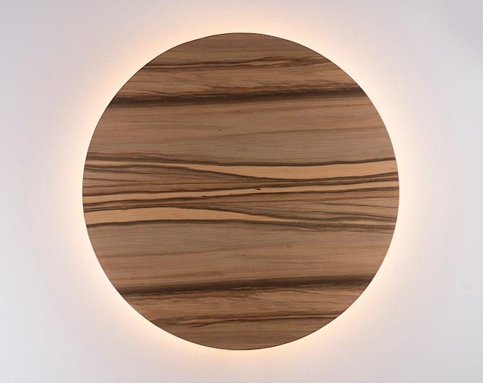 Wood Sconce Light - Modern Light Fixture Night Light Minimalist Wall Art LED Light Natural SATIN WALNUT Wood