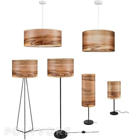 Wooden Floor Lamp Veneer Lamp Shade Satin Walnut Natural Etsy