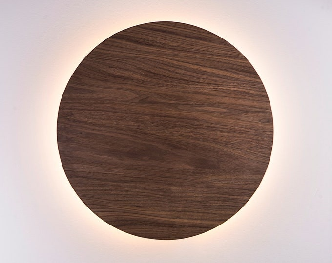 Wood Sconce Light - Modern Light Fixture Night Light Minimalist Wall Art LED Light Natural European WALNUT Wood
