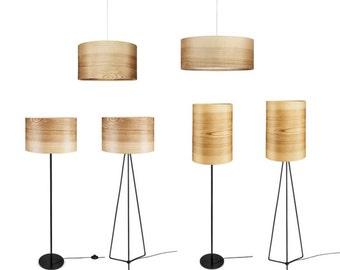 Wood Pendant Lamp - Veneer Modern Lamp - Natural Ash Shade - Home Decor - Natural Art