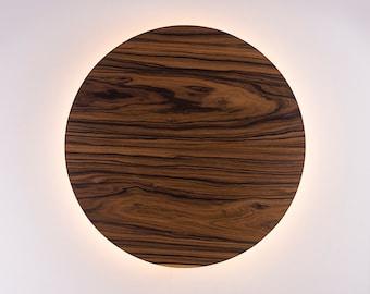 Wood Wall Lamp - Modern Light Fixture Nordic Decor Minimalist LED Light Geometric Circle Sconce Lighting Shade Natural Jacaranda Wood