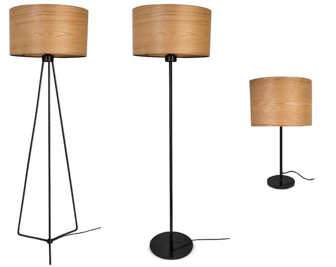 Bedside Lamp - Silver Lamp Base - Natural Veneers - Ash Wood Lamp -JAKOB COLLECTION