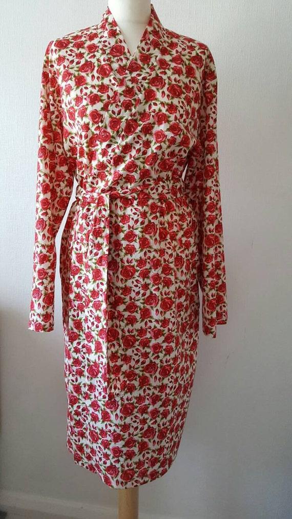 Rose print bathrobe cotton kimono style robe cotton dressing | Etsy