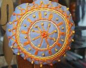 Hand embroidered door hanger/bauble orange, yellow and grey cotton