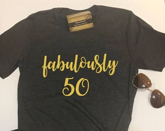 822416cab Custom Glitter Women's fabulously 50 Glam 50th Birthday 50 Shirt | Womens  Birthday Shirt | Women's 50th Birthday Shirt