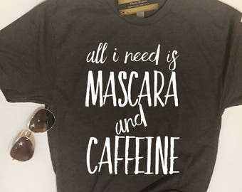 Custom Glitter Living on Mascara and Caffeine Women's Shirt | Mascara Shirt for Women