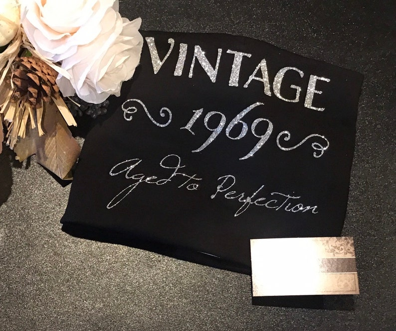 a72274f6a Vintage 1969 Aged to Perfection Glitter TShirt Glam 50th | Etsy