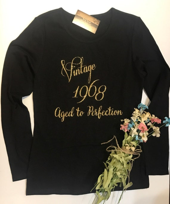 9477a7cd3 ... Glitter Women's Vintage 19XX Aged to Perfection | Glam 50th Birthday |  50 Shirt | Womens