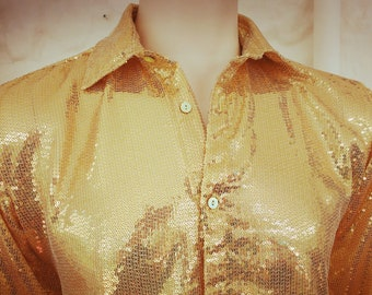 0179f677d6369 Men s Gold Sequin Shirt