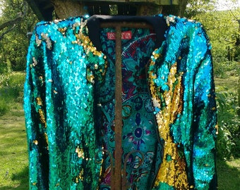 0fa2edf3cf70b Turquoise and gold sequin bomber jacket reversible colour changeable sequins