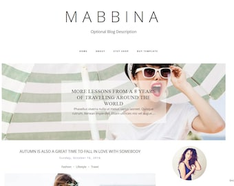Premade Blogger Template  - Responsive Blogger Template - Blogspot - Blog Template - Blogger Theme - MABBINA - Instant Download