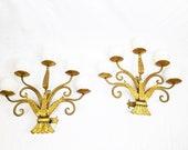 early s XX art nouveau design gold wall lamps sconces set