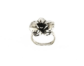 Orchid Ring Polished Silver, flower ring, Orchid flower ring, silver ring, silver flower ring
