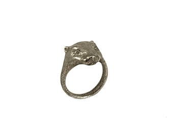 Otter totem animal ring, Solid Stainless and Gold steel, otter ring, animal ring, gold ring, also available Stainless or solid Bronze steel