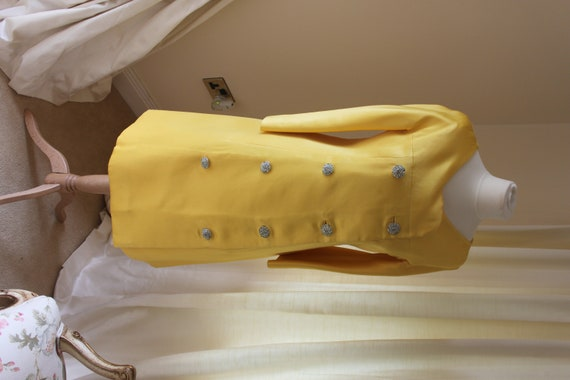 Vogue Couture, mustard, double breasted coat dress